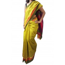 Mehrunnisa Handloom High Quality Cotton Silk SAREES With Blouse Piece From West Bengal  (Golden & Magenta)