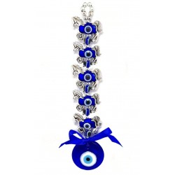 Mehrunnisa Turkish Evil Eye 5 Horse Good Luck Charm Hanging in Glass (MEH615)