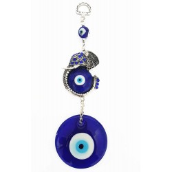 Mehrunnisa Turkish Evil Eye Elephant Good Luck Charm Hanging in Glass (MEH616)