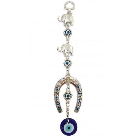 Mehrunnisa Turkish Evil Eye Horseshoe and Elephant Good Luck Charm Hanging in Glass (MEH617)