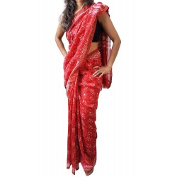 Mehrunnisa BAGRU MAHESHWARI Cotton Silk Red Saree With Blouse Piece From Jaipur (GAR2457)