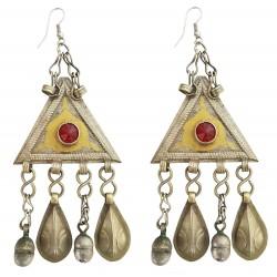 Mehrunnisa Original Afghani Tribal Vintage Long Turkmen Earrings For Girls (JWL2080)