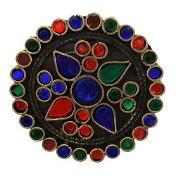 Mehrunnisa Tribal Afghani Big Round Ring With Colored Glass (Adjustable) For Girls (JWL2036)