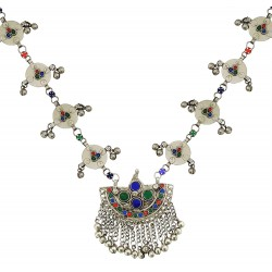 Mehrunnisa Afghani Tribal Long Necklace with Colored Glass For Women  (JWL2033)
