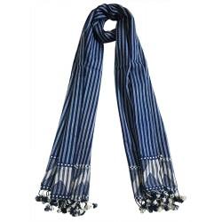 Mehrunnisa Traditional Handwoven Embroidered Woolen Stole from Gujarat (Blue,GAR2654)