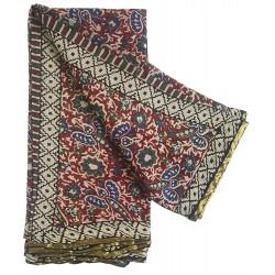 Mehrunnisa BAGRU Chiffon Saree With Blouse Piece From Jaipur (GAR2648, Maroon)
