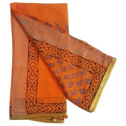 Mehrunnisa BAGRU Chiffon Saree With Blouse Piece From Jaipur (GAR2646, Orange)