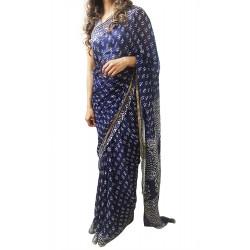 Mehrunnisa BAGRU Chiffon Saree With Blouse Piece From Jaipur (GAR2645, Indigo)