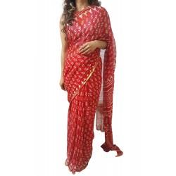Mehrunnisa BAGRU Chiffon Saree With Blouse Piece From Jaipur (GAR2644, Red)