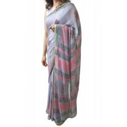 Mehrunnisa BAGRU Chiffon Saree With Blouse Piece From Jaipur (GAR2613, Grey)