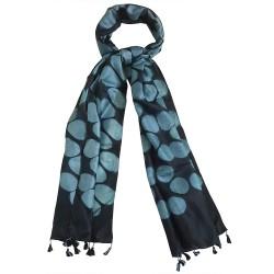 Mehrunnisa Women Clamp Dyed Tussar Silk Stole from Kutch  (GAR2640, Black)
