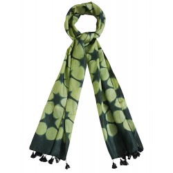 Mehrunnisa Women Clamp Dyed Tussar Silk Stole from Kutch  (GAR2639, Green)