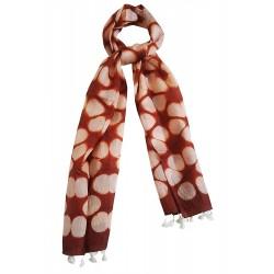 Mehrunnisa Women Clamp Dyed Tussar Silk Stole from Kutch  (GAR2638, Red)