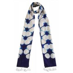 Mehrunnisa Women Clamp Dyed Tussar Silk Stole from Kutch  (GAR2637, Indigo)