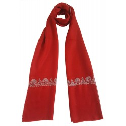 Mehrunnisa Unisex Pure Pashmina Wool Stole Wrap With Hand Embroidery  (GAR2636, Red)