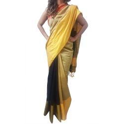 Mehrunnisa Handloom Cotton Silk SAREE With Blouse Piece From West Bengal (GAR2588, Golden & Black)
