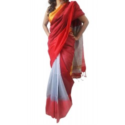 Mehrunnisa Handloom Cotton Silk SAREE With Blouse Piece From West Bengal (GAR2591, Red & Grey)