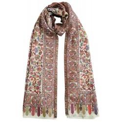 Mehrunnisa Ethnic Kani Pure Wool Stole / Large Scarf Wrap From Kashmir (GAR2119, White)