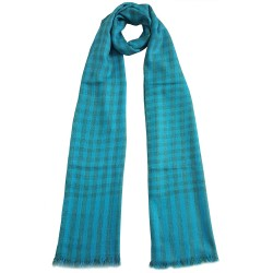 Mehrunnisa Handcrafted Pure Cashmere Pashmina Wool Check Stole Wrap – Unisex (GAR2124, Blue
