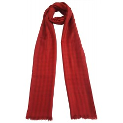 Mehrunnisa Handcrafted Pure Cashmere Pashmina Wool Check Stole Wrap – Unisex (GAR2125,Red)