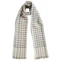 Mehrunnisa Handcrafted Pure Cashmere Pashmina Wool Check Stole Wrap – Unisex (GAR2126 , White)