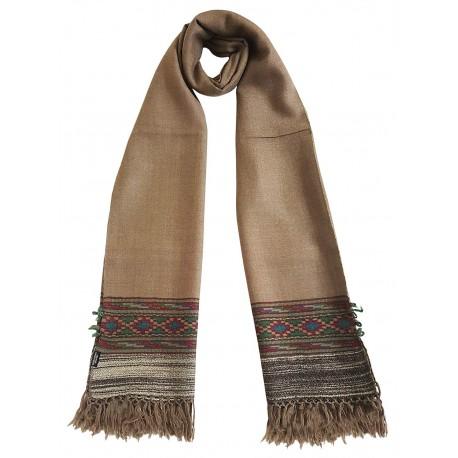 Mehrunnisa Unisex Pure Wool Handcrafted Kullu Stole (Natural Beige, GAR2631)