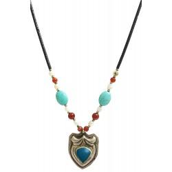 Mehrunnisa Afghani Ethinic Turquoise Pearls Pendant Necklace For Girls / Women (JWL1238)