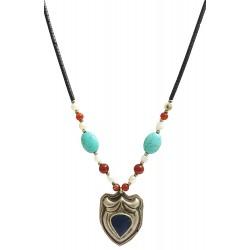 Mehrunnisa Afghani Ethinic Turquoise Pearls Pendant Necklace For Girls / Women (JWL1239)