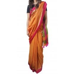 Mehrunnisa Handloom Pure Cotton SAREES With Blouse Piece From Bengal (Orange, GAR2702)