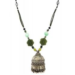 Mehrunnisa Afghani Green Jade & Amazonite Stone Jhumka Pendant Necklace (JWL2420)