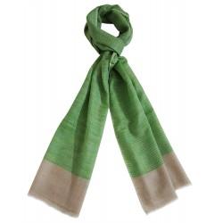 Mehrunnisa Handcrafted Pure Pashmina Cashmere Wool Check Muffler/Scarf Wrap – Unisex (GAR2594, Green & Beige)