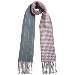 Mehrunnisa Double Sided Plaid Woolen Long Scarf / Muffler – Unisex (Pink ,GAR2201)
