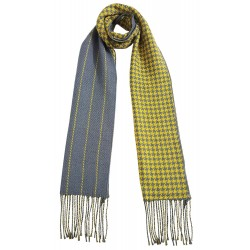 Mehrunnisa Double Sided Plaid Woolen Long Scarf / Muffler – Unisex (Yellow, GAR2198)