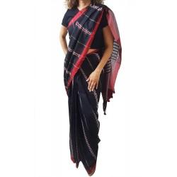 Mehrunnisa Handloom Pure Cotton Kantha SAREE With Blouse Piece From Bengal (Black Full Kantha, GAR2759)