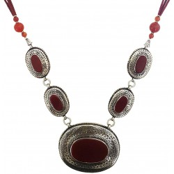Mehrunnisa Afghani Tribal Pendant Necklace (JWL2767, Dark Red Agate)
