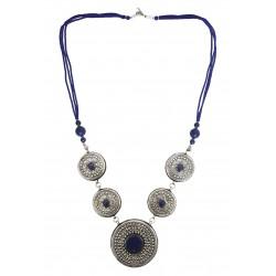Mehrunnisa Afghani Lapis Lazuli Tribal Pendant Necklace (JWL2770, Round)