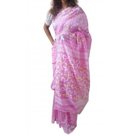 Mehrunnisa Dhakai Jamdani Cotton Silk SAREE With Zari From West Bengal (GAR2773, Pink)
