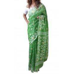 Mehrunnisa Dhakai Jamdani Cotton Silk SAREE With Zari From West Bengal (GAR2772, Green)