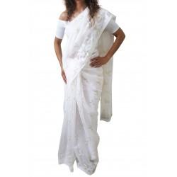 Mehrunnisa Dhakai Jamdani Cotton Silk SAREE With Zari From West Bengal (GAR2774, White)
