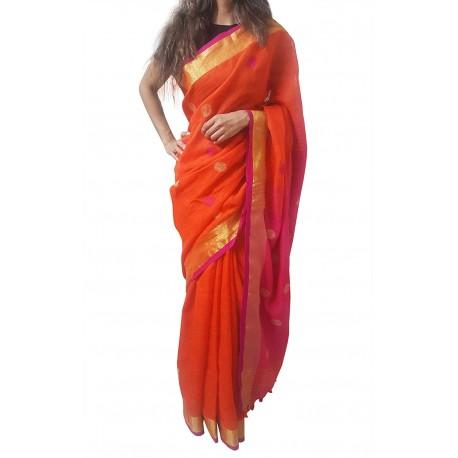 Mehrunnisa Handloom Linen Butta SAREE With Zari Border From West Bengal (GAR2720,  Orange & Magenta)