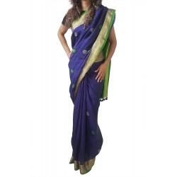 Mehrunnisa Handloom Linen Butta SAREE With Zari Border From West Bengal (GAR2722,  Navy Blue & Green)