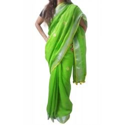 Mehrunnisa Handloom Linen Butta SAREE With Zari Border From West Bengal (GAR2721, Green)