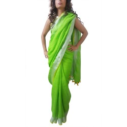 Mehrunnisa Handloom Premium Linen SAREE With Zari Border From West Bengal (GAR2608, Green & Yellow)