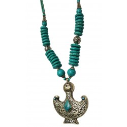 Afghani Tribal Turquoise Silver Pendant Necklace