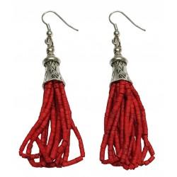 Afghani Tribal Coral Silver Earrings