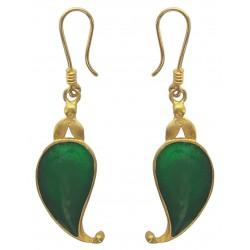 Paisley Green Enameled Dangle Earrings