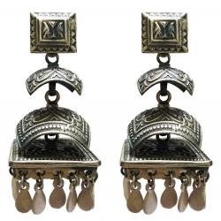 Sterling Silver Pagoda Style Motif Earrings