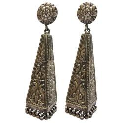 Sterling Silver Pyramid Style Motif Earrings
