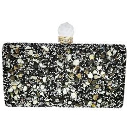 Mehrunnisa Black Rectangular Box Clutch Evening Bag For Women (BAG1544)