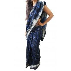 Mehrunnisa BAGRU MAHESHWARI Indigo Black Cotton Silk Saree With Blouse Piece From Jaipur (GAR2413)